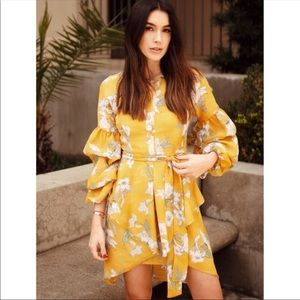 Chriselle X JOA  Revive Floral Tiered Sleeve Dress